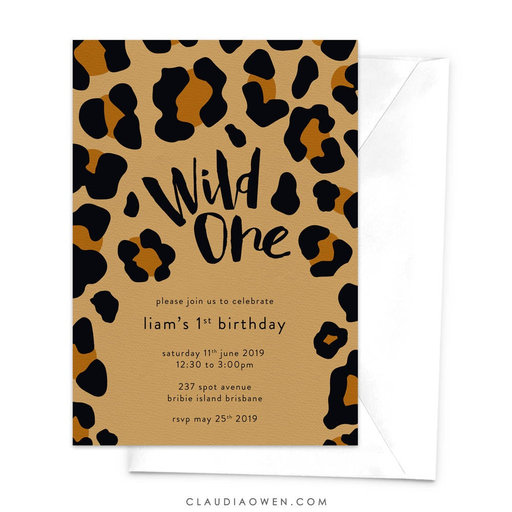 Wild One Theme Birthday Party Invitation, Baby's 1st Birthday Zoo Birthday, Animal Leopard Print First Birthday
