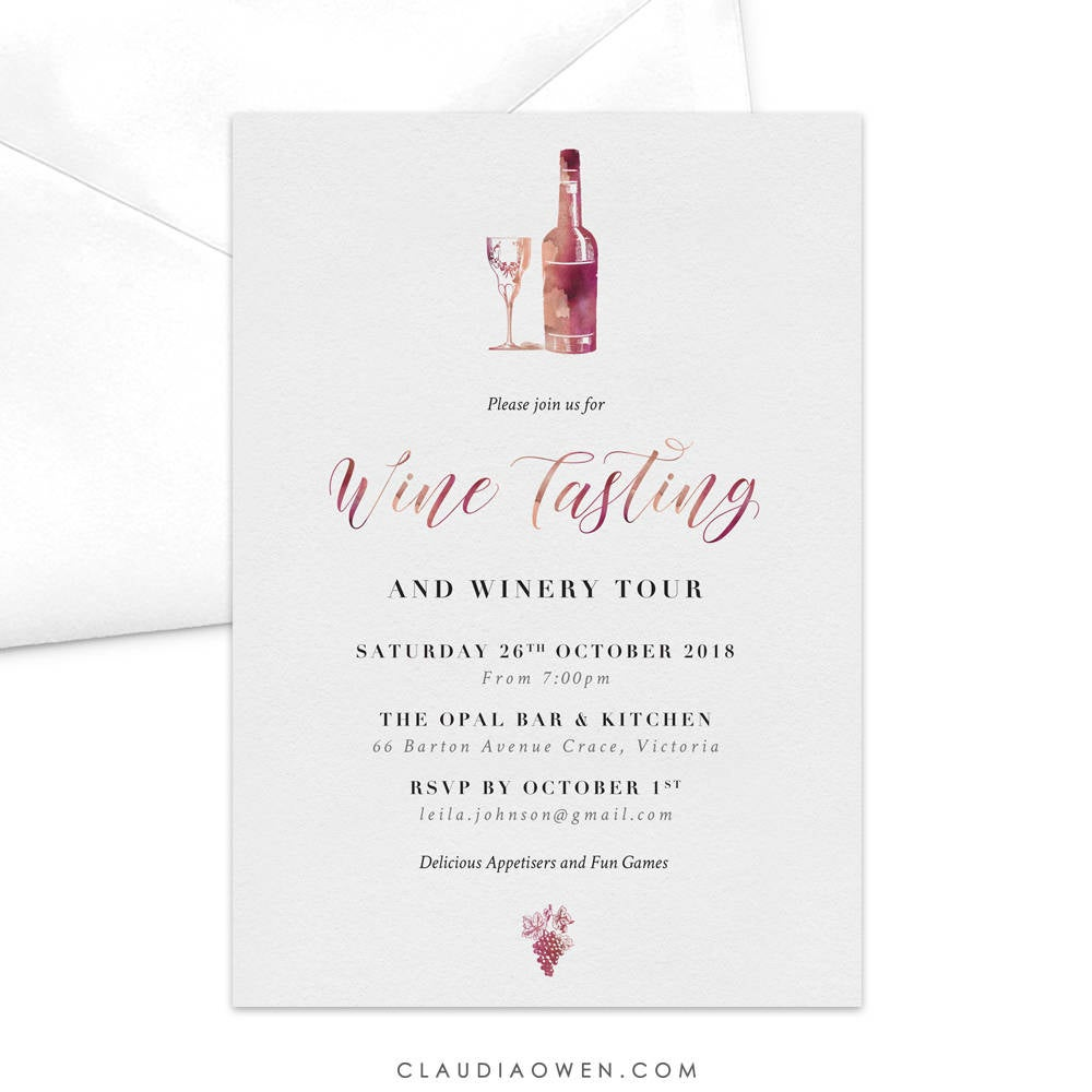 Wine Tasting Invitation Wine and Dine Red Wine Winery Tour Bottle of Wine Glass of Wine Grapes Alcohol Drinks Invitation Dinner Party