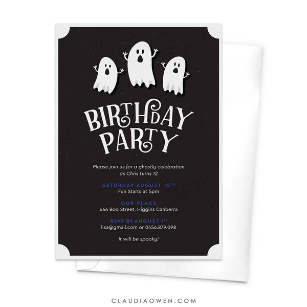 White Ghost Birthday Party Invitation Haunted House Party Scary Themed Party Children's Scary Party Spooky Boo Bash Horror Night