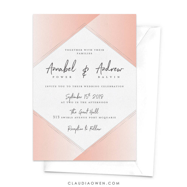 Wedding Invitation Wedding Invites Getting Married Rehearsal Dinner Invitation Modern Elegant Blush Pink