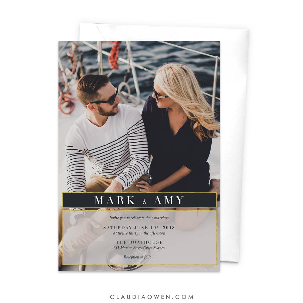 Wedding Photo Invitation Rehearsal Dinner Invite Modern Minimalist Wedding Photo Thank You Card, Save The Date Engagement Party