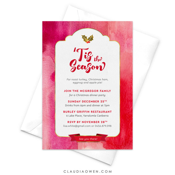 Tis The Season Party Invitation, Holiday Party, Christmas Party, Family Christmas Party, Christmas Dinner, Christmas Lunch, Holly Red Gold