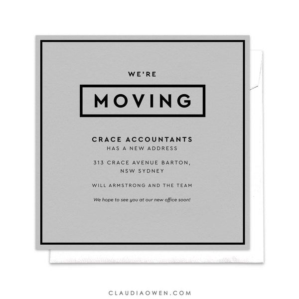We're Moving, Office Moving, Professional Moving Announcement, New Office, New Address, We've Moved, New Home, New House, Simple Minimalist