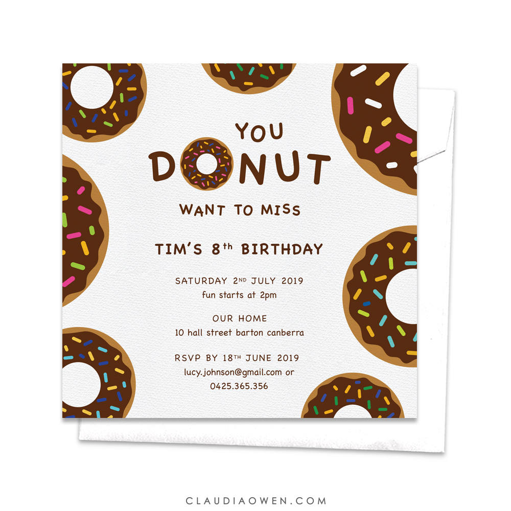 You Donut Want to Miss, Donut Invitation, Children's Birthday, Sweet 16 Invitation, Kid's Birthday Party, Teen Party, Chocolate Donuts