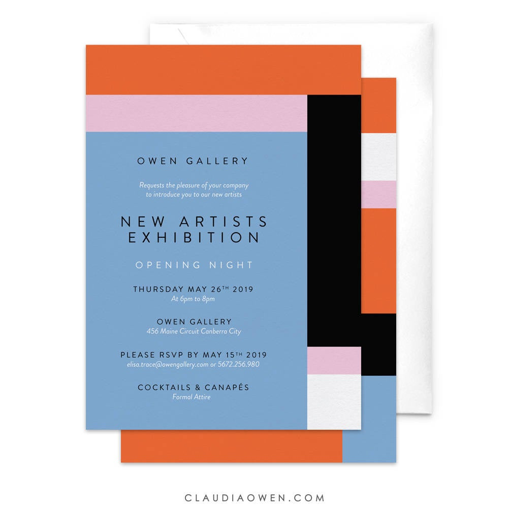 Unique Party Invitation Colorful Artist Exhibition, Geometric Artistic Modern Wedding, Art Reception Ceremony Abstract Birthday Party