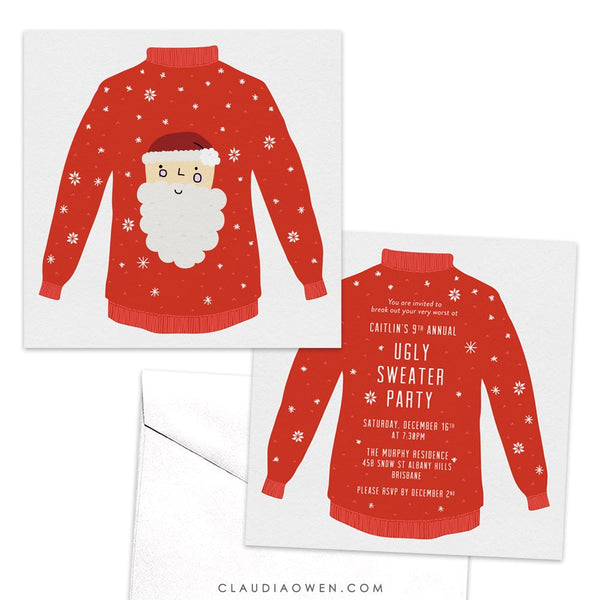 Ugly Sweater Party Invitation, Christmas Party, Holiday Party, Winter Party, Whimsical, Hand Drawn, Red Sweater, Santa Claus