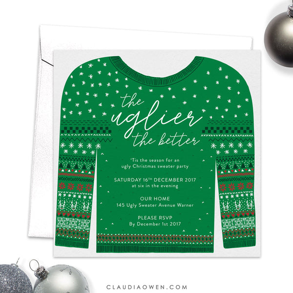 Ugly Sweater Holiday Party Invitation, Whimsical Christmas Party Invites, Fun Winter Party, Hand Drawn Winter Sweater
