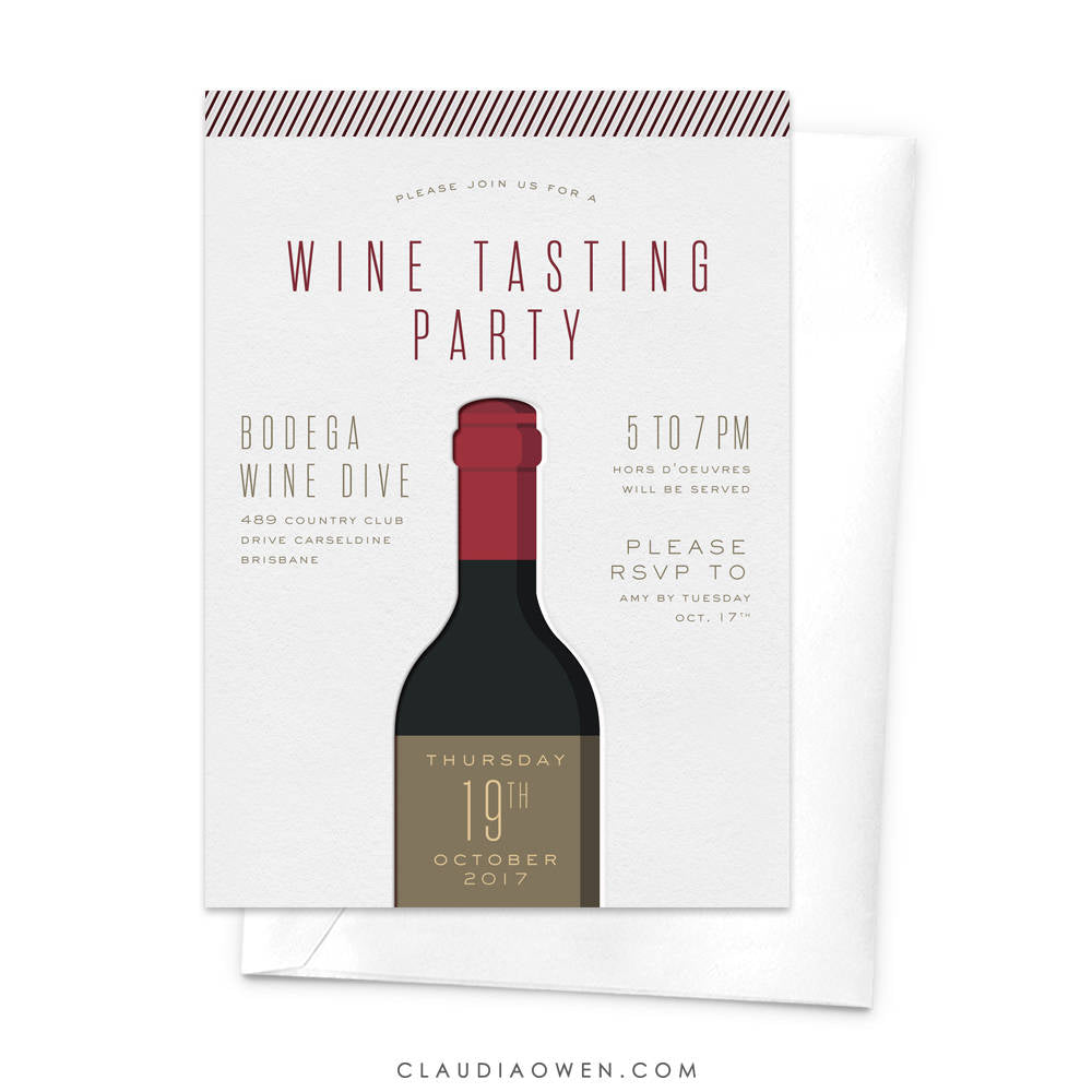 Wine Tasting Party Invitation, Wine and Dine, Dinner Party Invitation, Wine Bottle, Wine Lovers, Red Wine Alcohol Wine Degustation, Red Wine