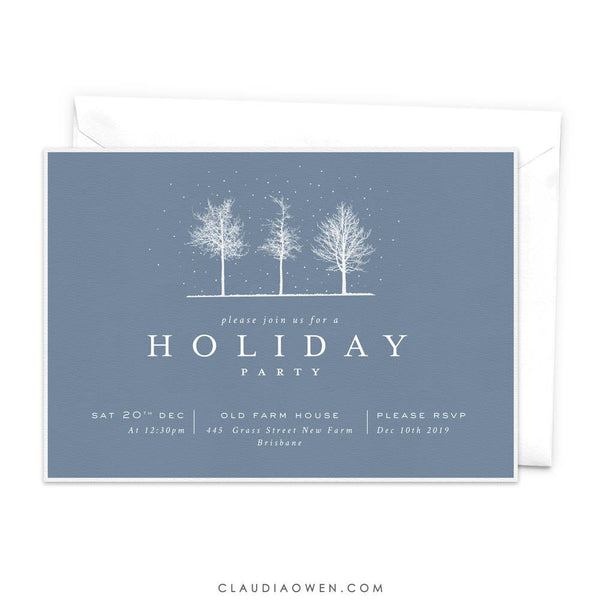 Winter Trees Holiday Party Invitation, White Winter Trees Christmas Party, Winter Soiree, Let it Snow, Snowing
