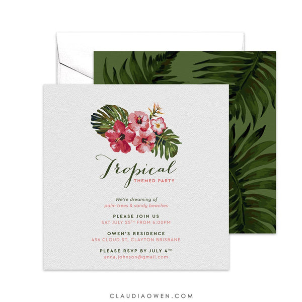 Tropical Birthday Themed Party Invitation Monstera Leaf, Greenery Shower Hibiscus Flower Luau Party Hawaiian Aloha Summer Party