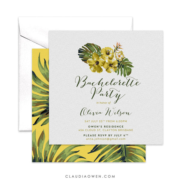 Tropical Destination Bachelorette Party Invitation, Botanical Hens Night Invites, Hibiscus Flower Monstera Leaf, Tropical Paradise