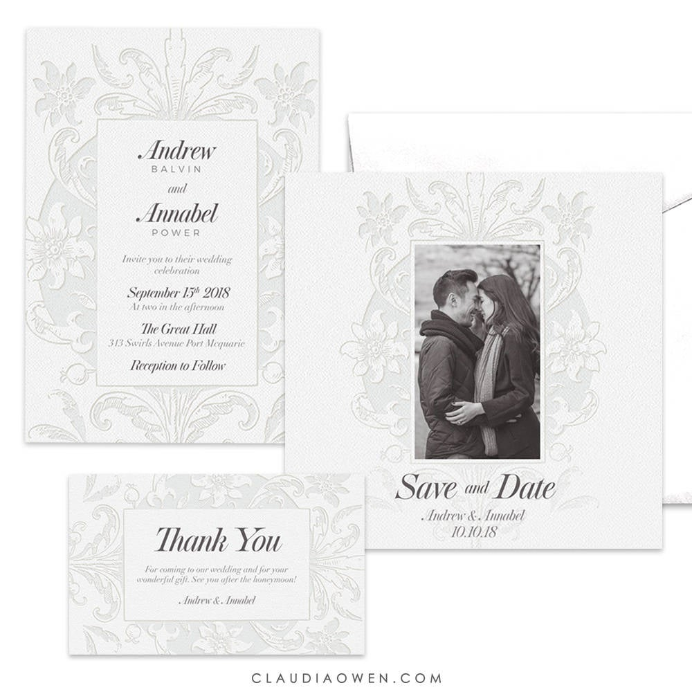 White Wedding Themed Invitation Suite, Elegant Wedding Set Photo Card Save the Date, Thank You Card Vintage Floral Lace All White Affair