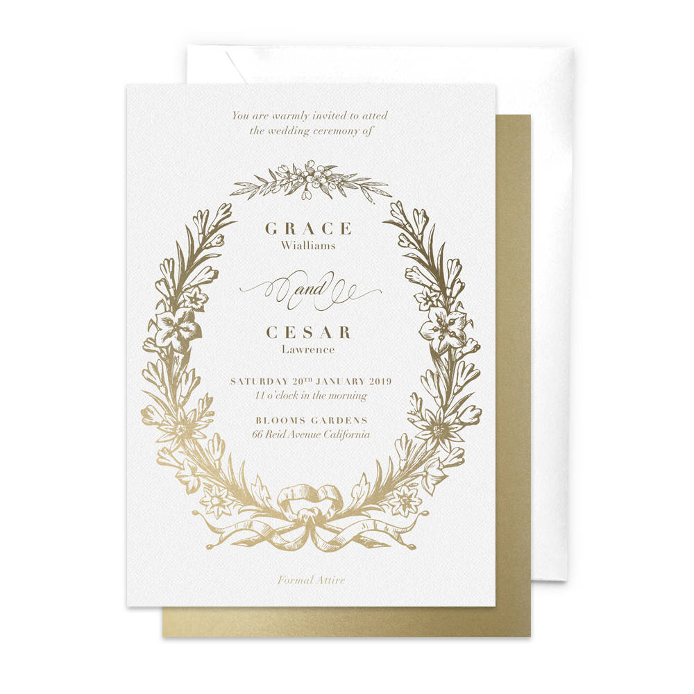 Wreath Wedding Invitation / Elegant Invitation / Rehearsal Dinner / Floral Invitation / Gala Night / Professional Event / Work Function