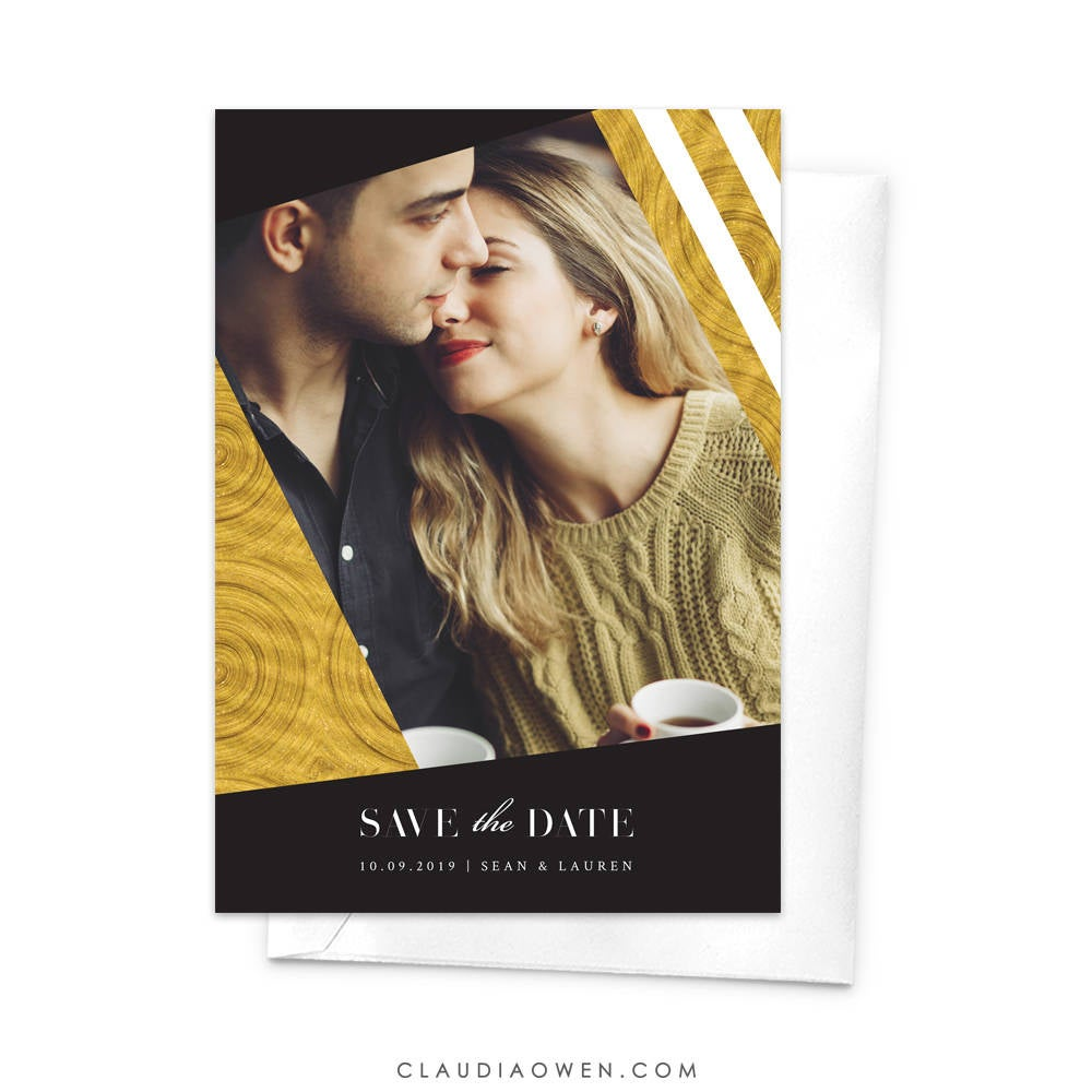 Wedding Photo Save the Date Cards, Elegant and Modern Save the Date, Engaged to be Married Getting Married Newly Engaged