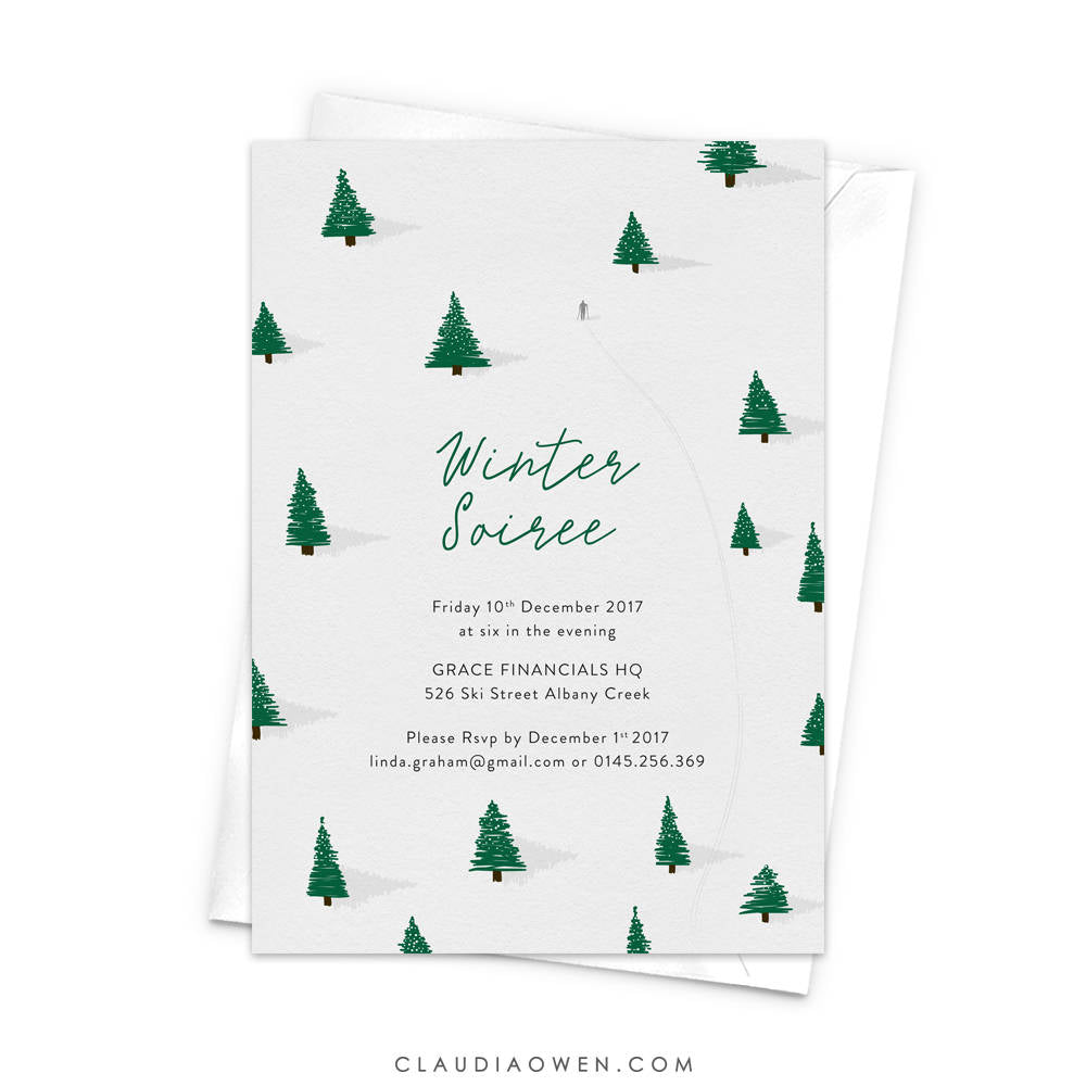 Winter Soiree, Winter Birthday, Snow Snowing, Winter Invitation, Winter Celebration, Skiing Holiday, Pine Trees, Snowfields
