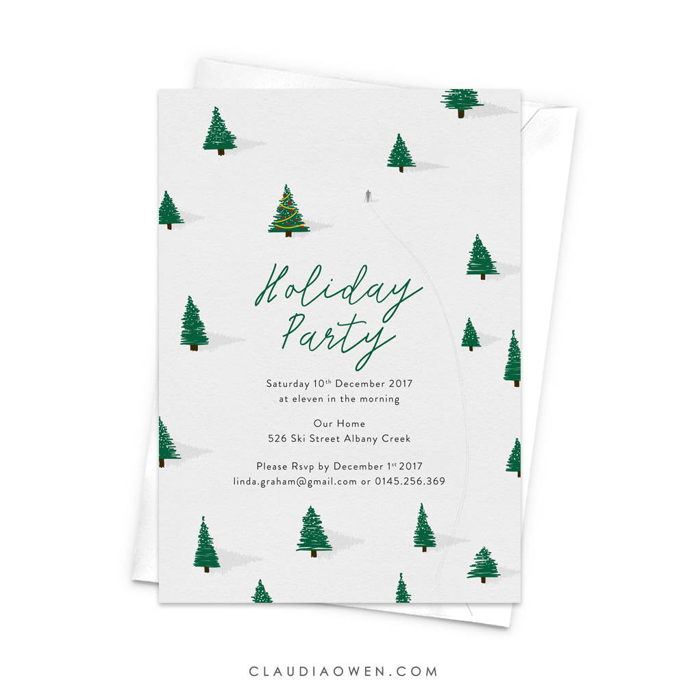 Winter Snow Fields Holiday Party, Pine Trees, Christmas Tree Party Invitation, Let it Snow, Snowing Snow Skiing