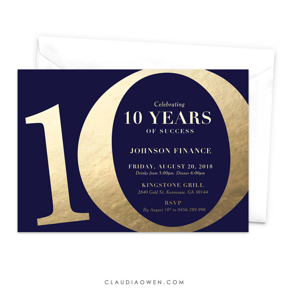 Ten Years Of Success 10th Business Anniversary Party Invitation, 10th Tenth Wedding Anniversary, 10 Years Married, Cheers to 10 Years