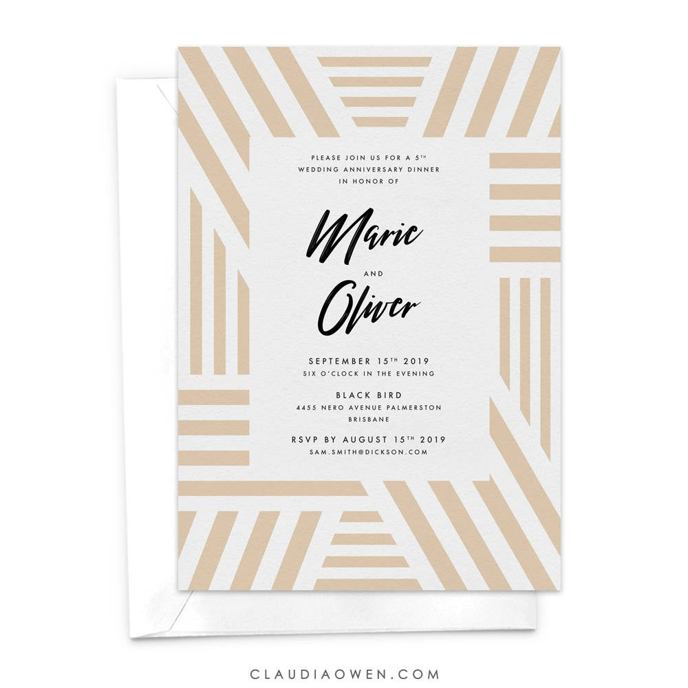 Wedding Anniversary Party Invitation, 10th 20th 30th 40th 50th Parent's Anniversary, Vow Renewal We Still Do, Geometric Business Anniversary