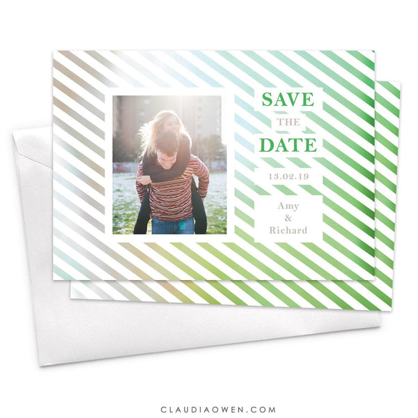 Wedding Save the Date Cards, Getting Married, Modern Colorful Photo Card Design, Green Stripes, Fun Bright, Happy Couple, Engagement Card