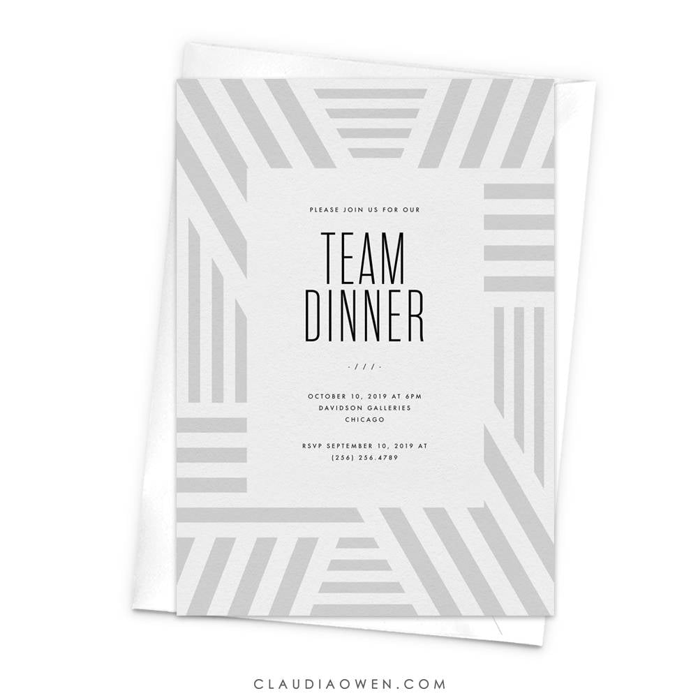 Team Dinner Business Invitation, Anniversary Dinner, Awards Night, Work Function, Gala Night Professional Event Corporate Geometric Pattern