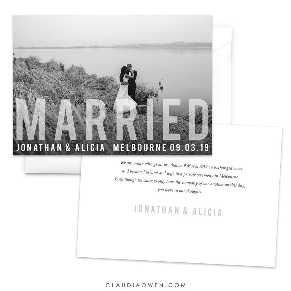 Wedding Announcement Photo Card, Just Married, Marriage Announcement, We Eloped, Newlyweds Elopement Announcement