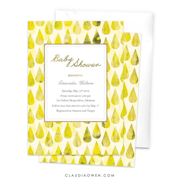 Yellow Rain Drops Baby Shower Invitation Baby Boy Baby Girl Shower Invites Unique Fun Cute Raining New Baby Invitation Water Droplets