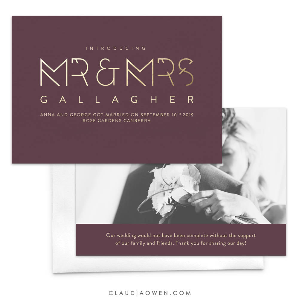 wedding announcement with photo Mr and Mrs Just Married Newlyweds Announcement Card, Elopement Card We Eloped