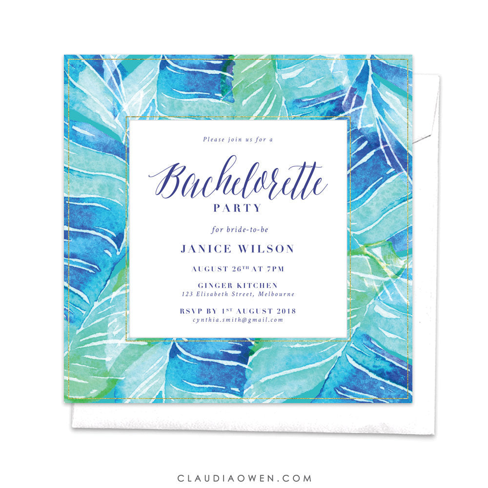 Tropical Bachelorette Party Invitation, Hens Night Invites Tropical Leaves, Tropical Paradise Greenery Leaves