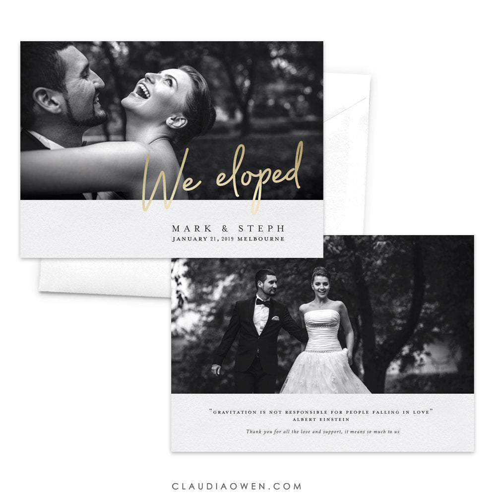 We Eloped Photo Wedding Announcement Card, Elopement Card Elegant Marriage Custom Announcement, Just Married Card Bride and Groom Card