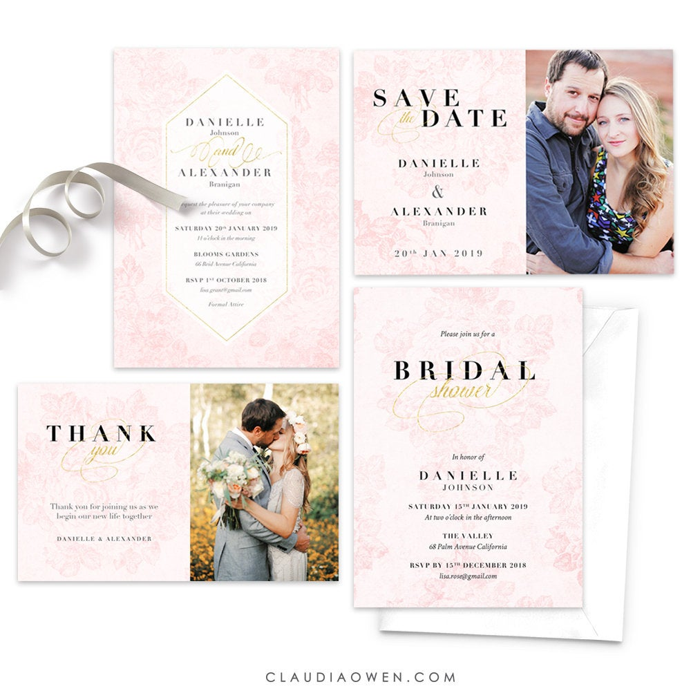 Vintage Roses Wedding Invitation Matching Set Floral Invitation Elegant Design Blush Pink Flowers Roses Rose Invitation
