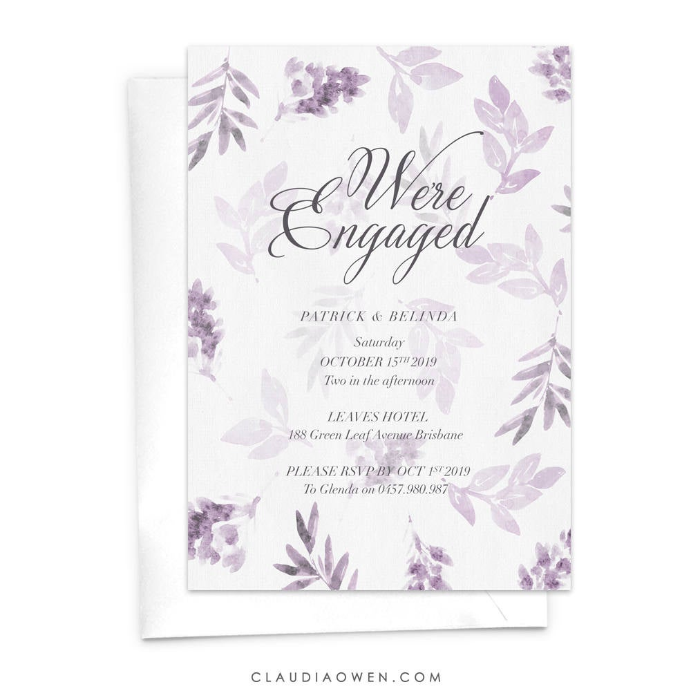 Wedding Engagement Party Invitation, We Are Engaged Watercolor Greenery Nature Bridal Shower Invite, Modern Summer Engagement Dinner