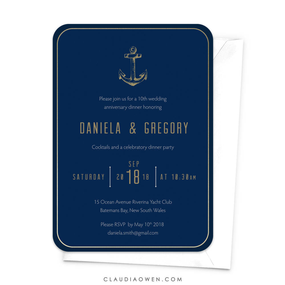 Wedding Anniversary Party Invitation Anniversary Invites Milestone Anniversary Nautical Theme Sea Inspired Anchor Navy Blue Ocean Maritime