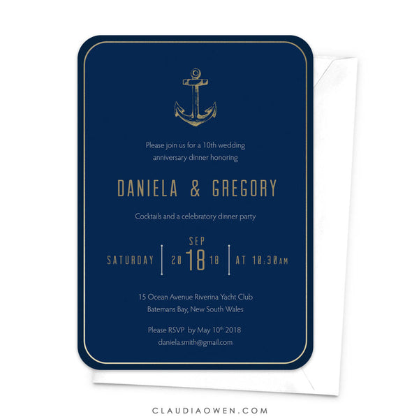 Wedding Anniversary Party Invitation, Nautical Theme Anniversary Invites, Milestone Anniversary Sea Anchor Navy Blue Ocean Nautical Birthday