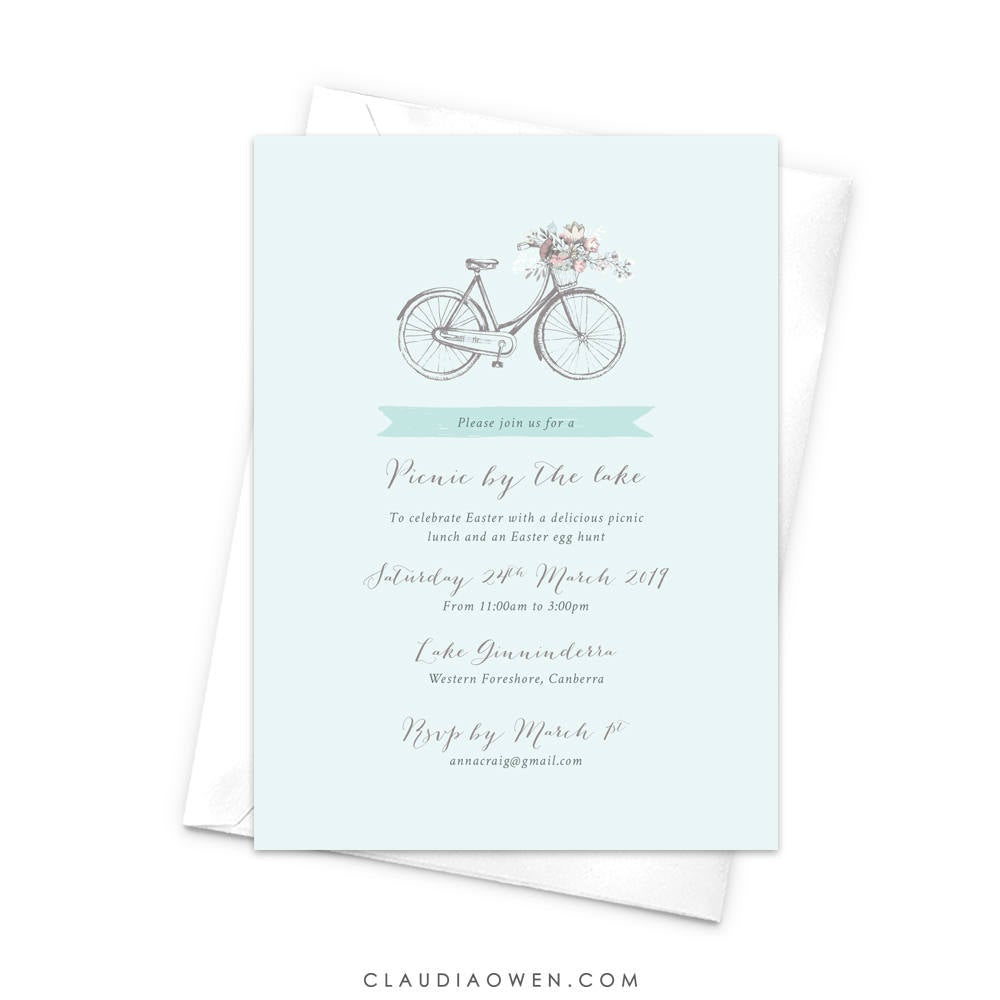 Vintage Bike Picnic Invitation, Rustic Boho Chic Invites, Bicycle Lovers, Basket with Flowers, Easter Lunch Picnic Celebration, Old Bike