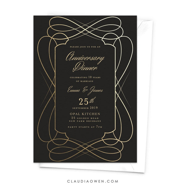 Wedding Anniversary Party Invitation, Parents Anniversary Business Anniversary Dinner Invites, Elegant Work Anniversary Company Anniversary