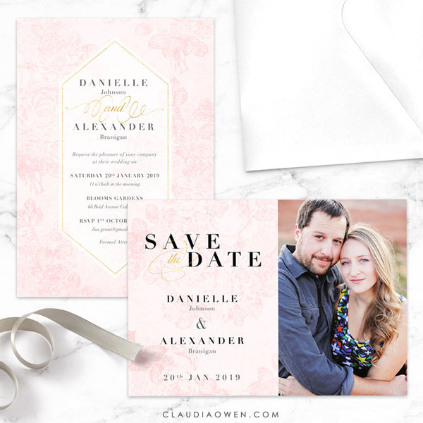 Vintage Rose Wedding Invitation and Save the Date Card, Floral Design, Blush Pink, Flowers Rose Invitation, Spring Wedding, Summer Invites
