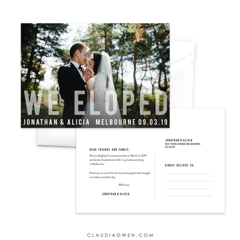 We Eloped Announcement Postcard, Just Married Elopement Card, Romantic Photo Wedding Announcement, Marriage Newlyweds
