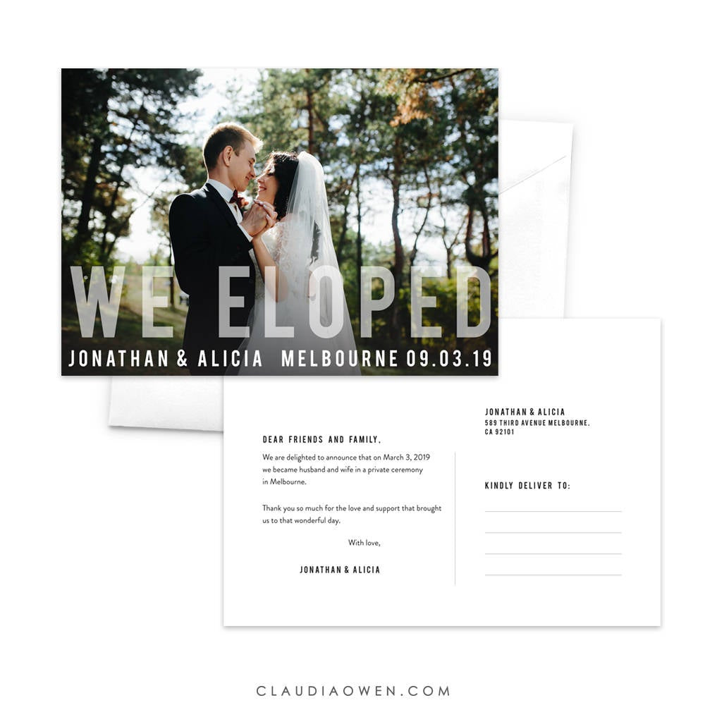 We Eloped Announcement Postcard Just Married Elopement Postcard Wedding Announcement Photo Announcement Marriage Announcement Newlyweds