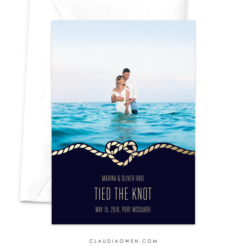 Tied the Knot Nautical Theme Marriage Announcement Card Elopement Card Just Married Heart Rope Sea Ocean Newlyweds We Eloped Cruise Wedding