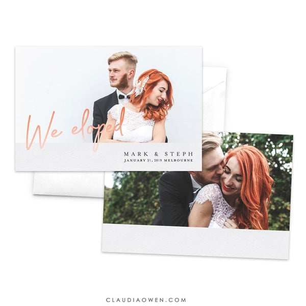 We Eloped, Wedding Announcement Card, Just Married, Elopement Announcement Card, Modern Romantic, Personalized Wedding Announcement
