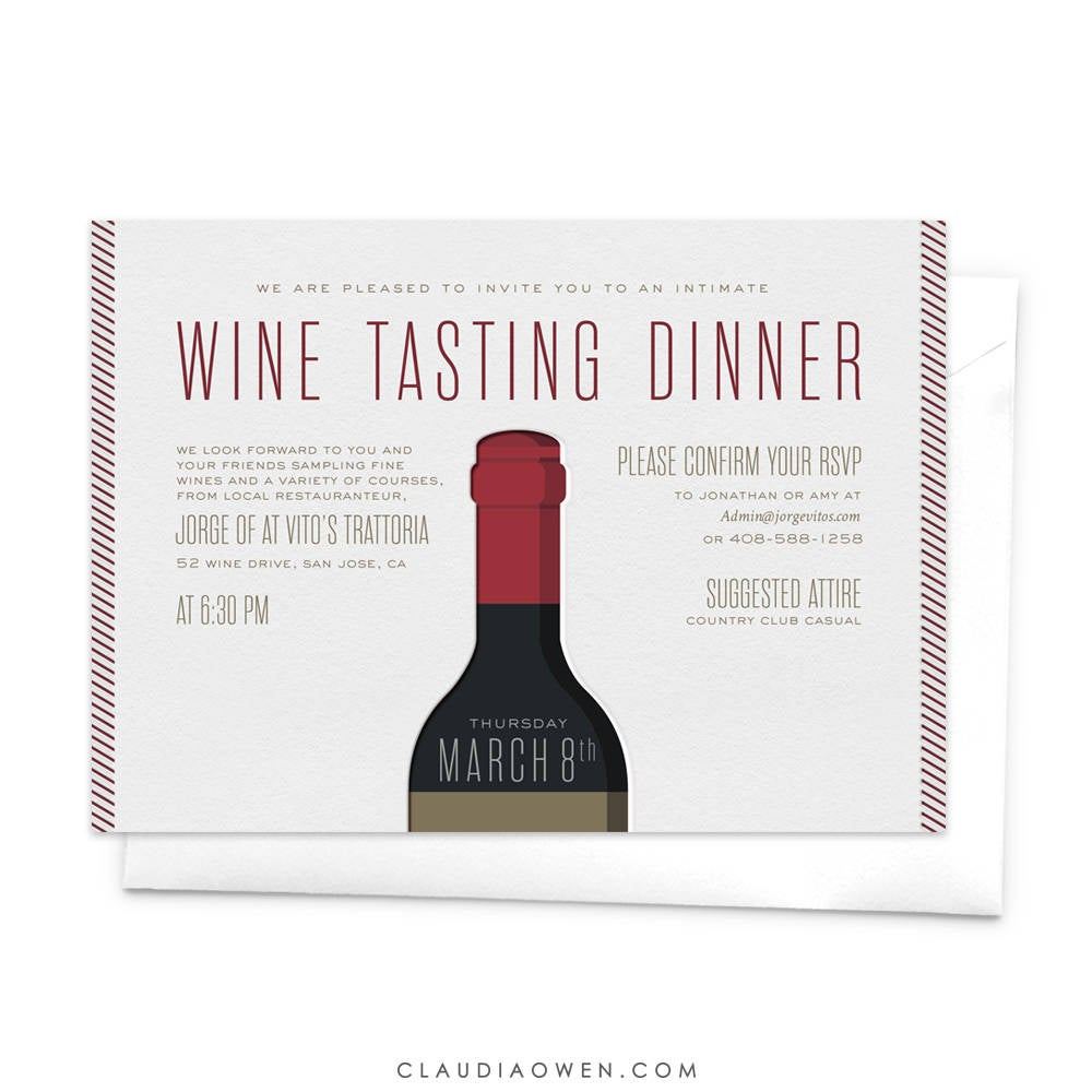 Wine Tasting Dinner Invitation Wine and Dine Dinner Party Red Wine Winery Tour Wine Tasting Party Wine Bottle Wine Lovers Wine Degustation