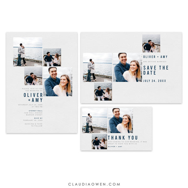 Wedding Photo Card Matching Set Invitation, Save the Date, Thank You Card, Modern Wedding Anniversary Minimalist Design