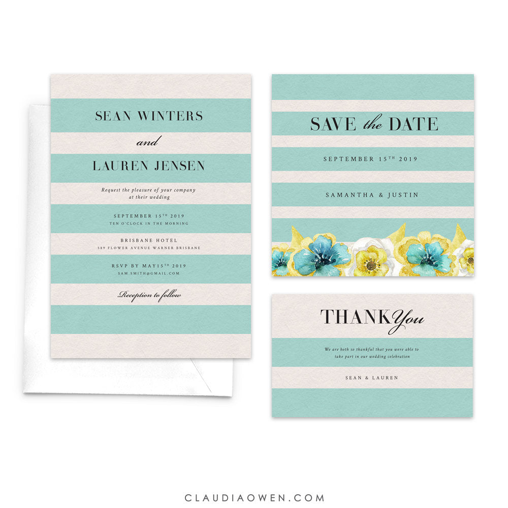 Wedding Suite Save the Date Summer Greenery Wedding Stationery, Spring Botanical Floral Outdoor Wedding Set Invitation Thank You Card