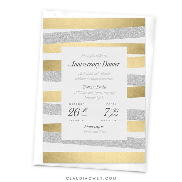 Wedding Anniversary Dinner Party Invitation, Elegant Business Anniversary Invites, Gold and Silver Design, Couples Shower, Bridal Shower