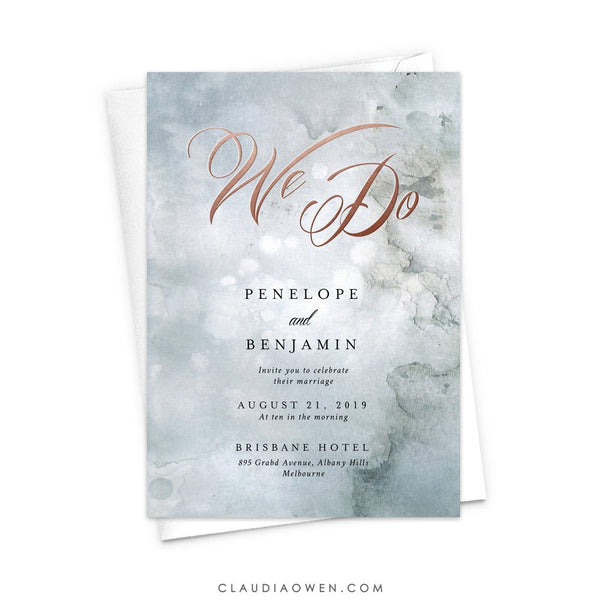 We Do Wedding Invitation, Romantic Invites, Ethereal, Paint Texture, Artistic Design, Organic Feel, Art Arty, Elegant Typography