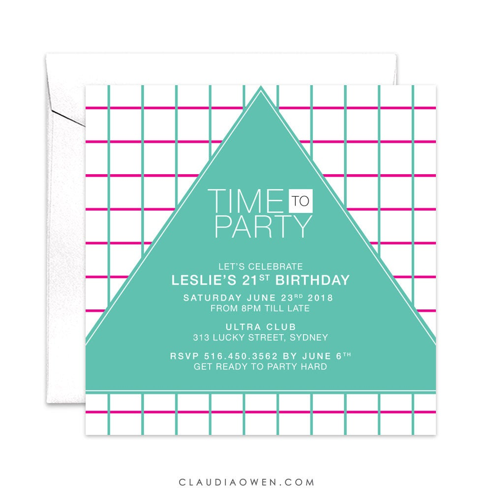 Time to Party, 21st Birthday, 30th Birthday, 40th Birthday, Birthday Party, Adult Party Modern Invitation, Geometric Design, 80's Invitation