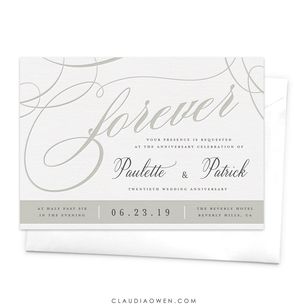 Wedding Anniversary Invitation Forever Romantic Invitation Elegant Design Intricate Lines Soft Colors Vintage Swirls Anniversary Invites
