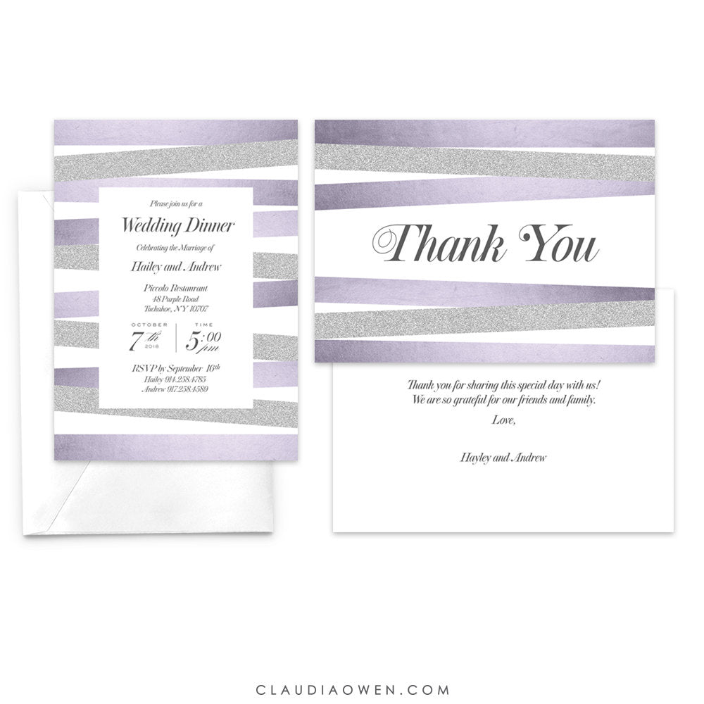 Wedding Dinner Invitation and Matching Thank You Card Dinner Party Elegant Design Silver Glitter Formal Event Dinner Invites