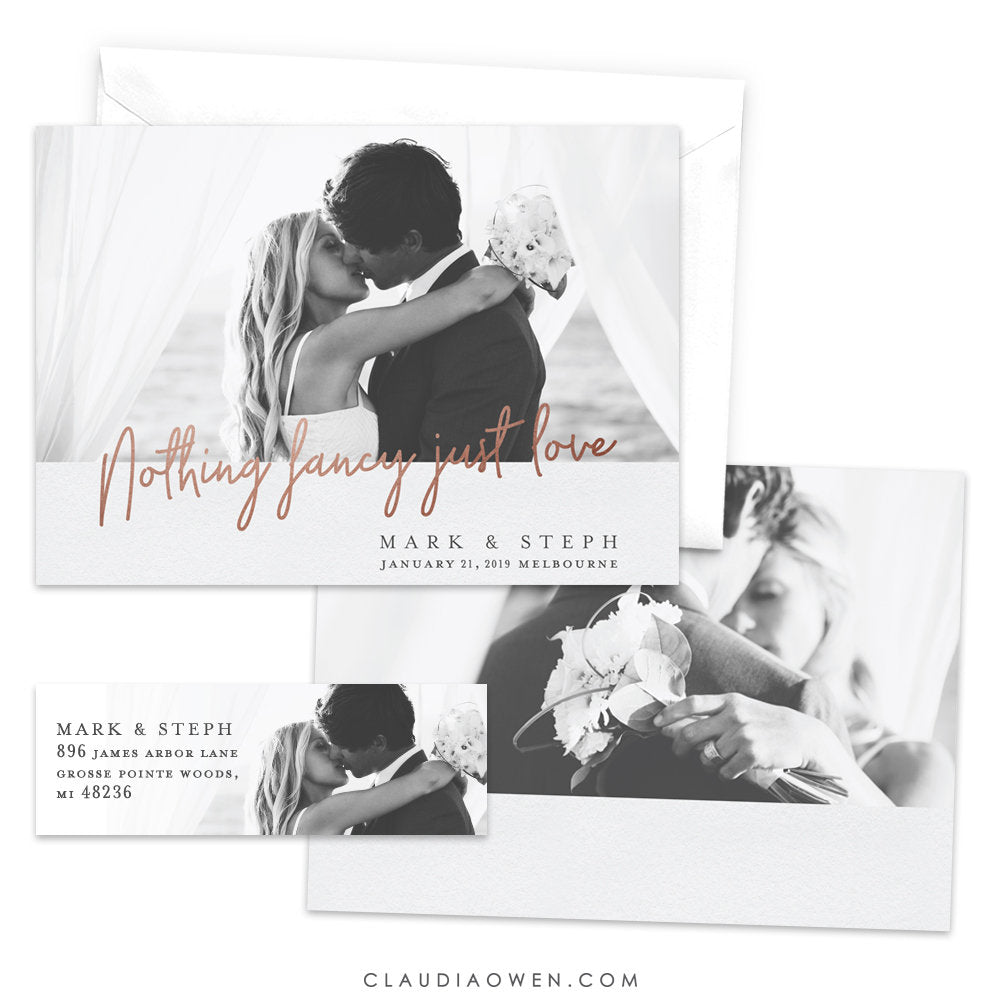 Wedding Announcement Nothing Fancy Just Love, Romantic Elopement Announcement Card Matching Return Address Label, Marriage Just Married