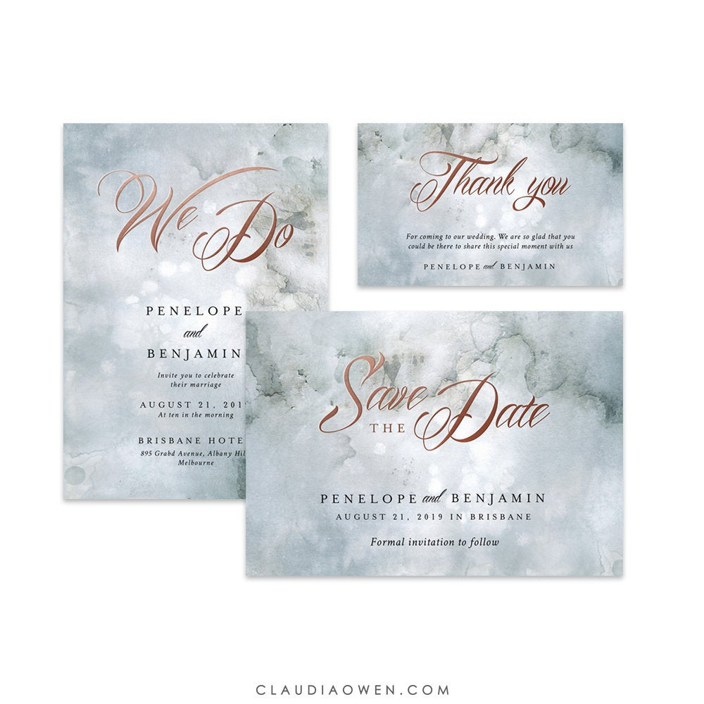 We Do Wedding Invitation Set Romantic Ethereal Paint Texture Save the Date Thank You Card Arty Design Organic Texture Art